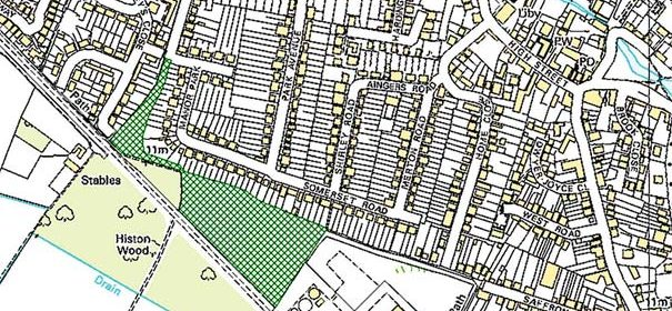 Map showing area of proposed location for Community Orchard. © Crown copyright and database rights Ordnance Survey 2011