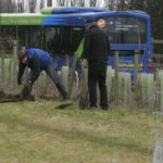 Some volunteers making an early start on digging for the heding