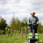 Simon mowing the pathways